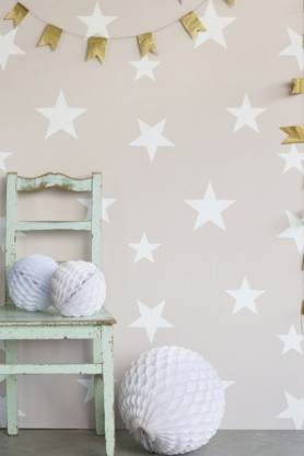 Lifestyle image of Hibou Home Wish Upon A Star Children's Wallpaper - Blush/White