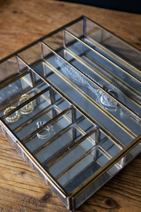 Large Brass Storage Box with Mirror Base