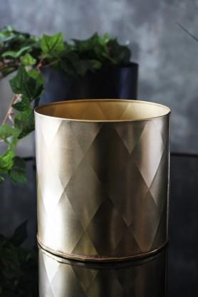 Gold Effect Faceted Planter 15cm x 14cm