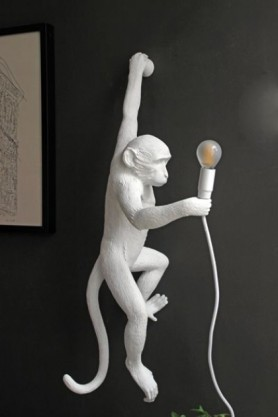 Left-Hand Hanging Monkey Wall Lamp - White hanging from dark wall and light off lifestyle image