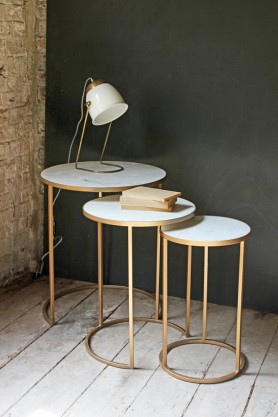 Round Nest of 3 Marble Side Tables