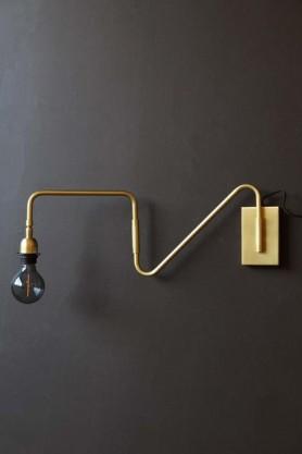 Matt Brass Contrast Directional Wall Light With Rectangle Back Plate