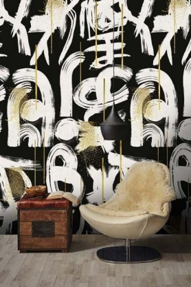 Lifestyle image of Gesterual Abstraction Anthracite wallpaper