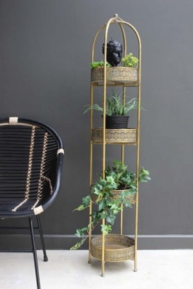 Ornate Gold Tall Tray Shelves