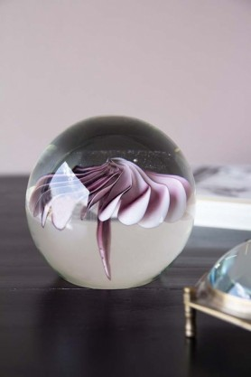 Pink Floral Glass Paperweight
