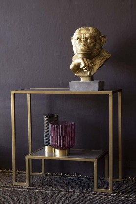 Antique Brass & Marble Two-Tier Shelf Unit
