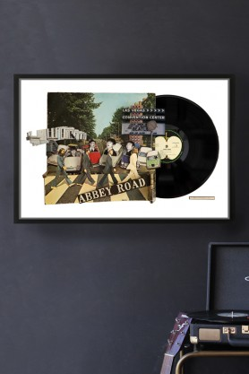 Abbey Road Record Cover Collage by Alison Stockmarr - Framed