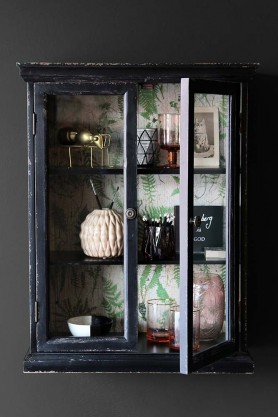 Baby Distressed Black Wall Cabinet with Botanical Lining