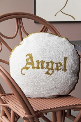 Angel Or Devil Glamorous Beaded Double Sided Cushion