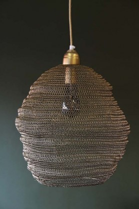 Beehive Antique Bronze Chain Pendant Light