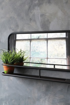 Dark Brown Mirror With Deep Shelf - Landscape