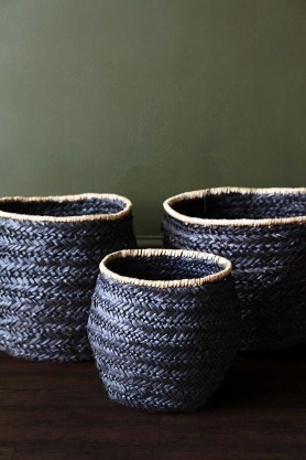 Set Of 3 Beautiful Black Seagrass Baskets