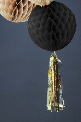 Black Honeycomb Paper Ball With Gold Tassel