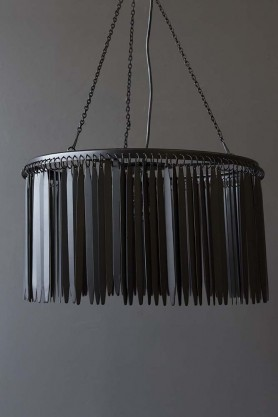 Metallic Fringing Chandelier - Black