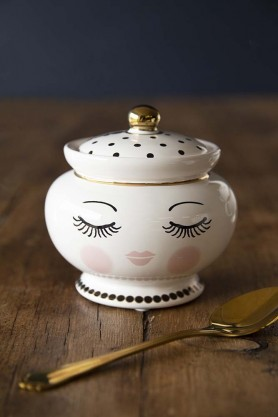 Sleeping Face Sugar Pot & Lid