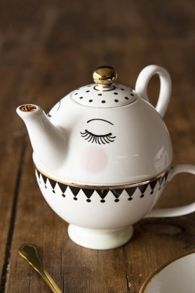 Sleeping Face Tea-For-One Set - Teapot & Cup