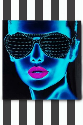 Framed Electric Blue Tough Girl Electronic Art Print