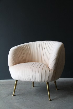 Blush Scalloped Velvet Tub Armchair