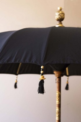 Boho Beaded Cotton Garden Umbrella - Black