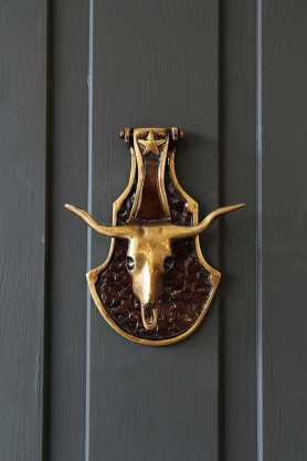 Brass Bull Skull Door Knocker