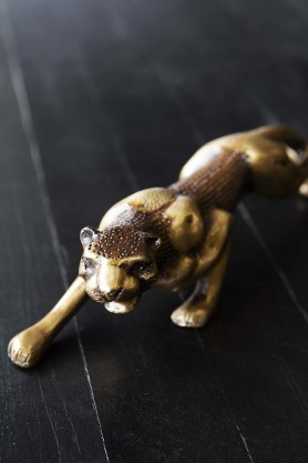 Stalking Brass Jaguar Ornament