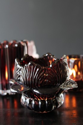 Lotus Flower Tea Light Holder - Caramel