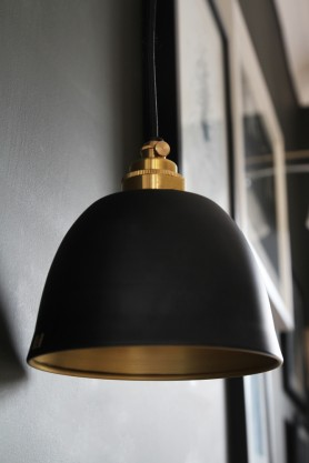 Miniature Bell Brushed Brass & Dusky Matte Black Ceiling Light