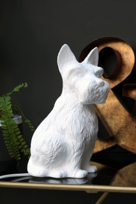Porcelain Table Lamp - Scotty Dog