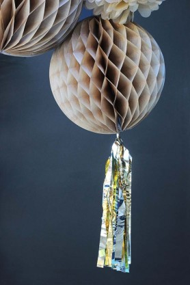 Champagne Honeycomb Paper Ball With Gold Tassel