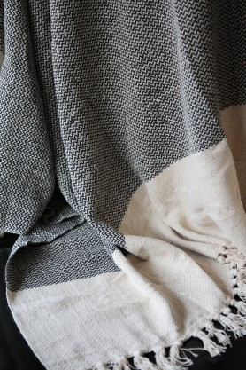 Natural Cotton Chevron Throw