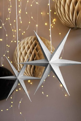 Set Of 2 Silver Glitter Star Decorations