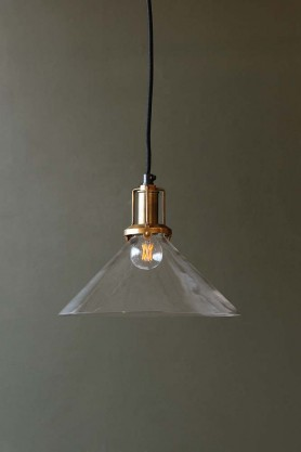 Clear Glass Cone Shade With Brass Fittings
