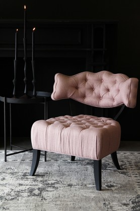Cloud Herringbone Tweed Chair - Fille Pink