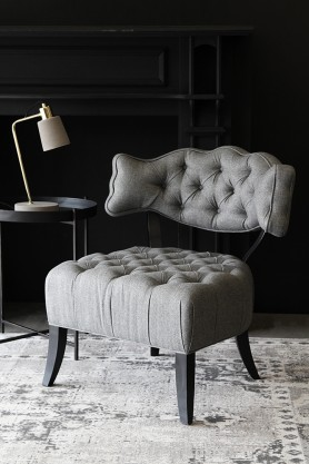 Cloud Herringbone Tweed Chair - Garson Grey