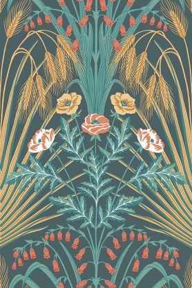 Close-up sample image of the Bluebell Wallpaper in Teal, Metallic Gold & Coral On Petrol by Cole & Son