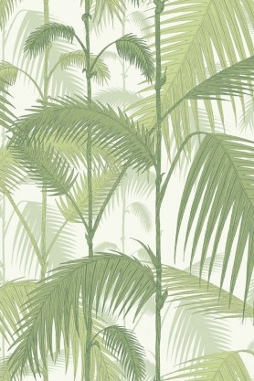 Cole & Son Contemporary Restyled - Palm Jungle Wallpaper - Soft Yellow Green on White