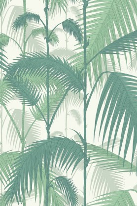 Cole & Son -  Contemporary Restyled - Palm Jungle - Teal Green on White