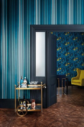 Cole & Son - Marquee Stripes Collection - Carousel Stripe Wallpaper - Inky Blue