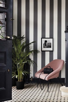 Cole & Son Marquee Stripes Collection - Jaspe Stripe Wallpaper - Charcoal
