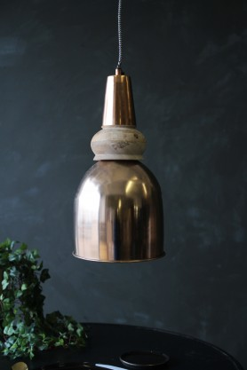 Large Bell Copper & Wood Ceiling Light