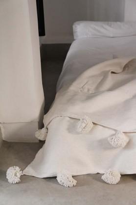 Cotton Pom Pom Blanket 200x300cm - All White