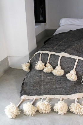 Luxe Edition Cotton Pom Pom Blanket 200x300cm - Slate Grey With Ivory Pom Poms