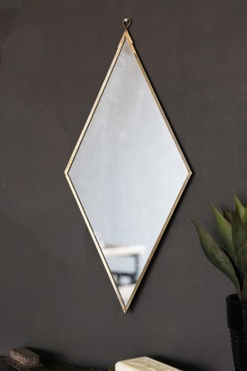 Brass Effect Diamond Shape Mirror