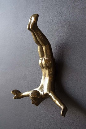 Diving Man Wall Hook - Brass
