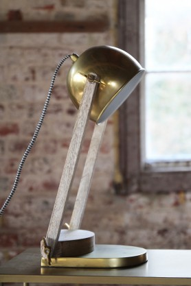 Ella Antique Brass & Wood Desk Lamp