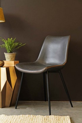 furniture industrial style. Morris Faux Leather Dining Chair - Cedar Brown Furniture Industrial Style