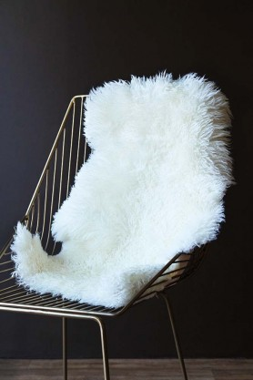 Genuine New Zealand Long Wool Curly Sheepskin - Off White