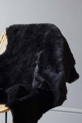 Genuine Shearling Sheepskin Rug - Black