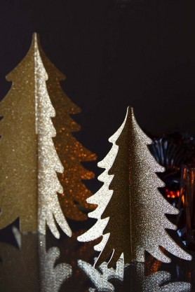Set Of 2 Paper Christmas Trees - Gold