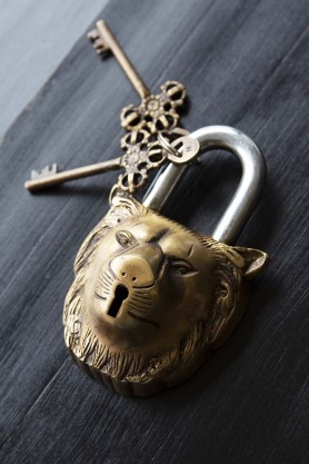 Decorative Gold Lion Padlock
